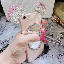 Mickey Mouse Ears Diamond TPU Mirror Back Case Cover For iPhone 6 6s 7 Plus S001