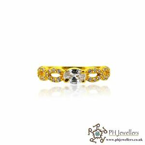 22ct 916 Hallmark Yellow Gold Engagement Ring with CZ Size M SR145