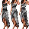 Womens Sleeveless Summer Beach Evening Party Cocktail Stripesd Long Maxi Dress