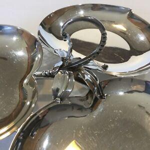 Three Crowns Silversmiths Royal Hickman silver Plate Triple Candy Nut Dish Bowl
