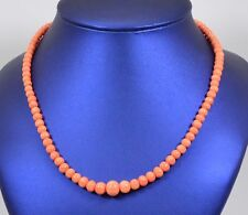 Vintage Salmon Pink Coral Graduated Beads Gold Tone Necklace