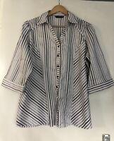 Evans Stripe Shirt Metallic Cotton Blend Size 20