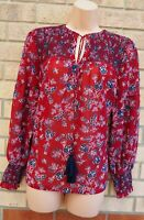 NEW LOOK BURGUNDY BLUE FLORAL TIE NECK BAGGY LONG SLEEVE BLOUSE SHIRT TOP 10 S