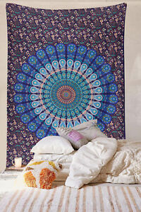 Indian Tapestry Blue Ombre Mandala Poster Wall Hanging Bohemian Home Decor Throw