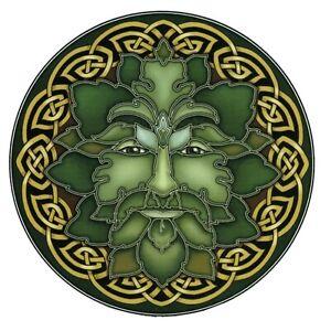 Mandala Art Green man window Sticker 2-sided indoor outdoor wiccan pagan celtic