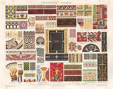 B6591 Ornamenti dell'Antichità - Cromolitografia antica del 1890