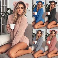 Winter Warm Women Pajama Jumpsuit Soft Bathrobe Cute Ear Sleepwear Shorts Romper