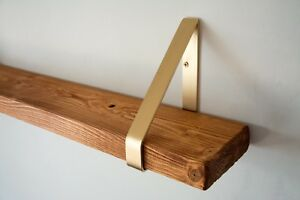 Calvados Rustic Chunky Solid Wood Wall Shelf - Gold Triangle Brackets - 14.5cm D