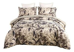 Tache Microfiber Abstract Wispy Leaf Taupe Grey Print Pattern Duvet Cover