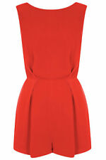 Topshop Red Orange Black Lace Back Crepe Tailored Playsuit Jumpsuit UK 10 38