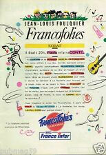 Publicité advertising 1989 Les Francofolies de la Rochelle Radio France Inter