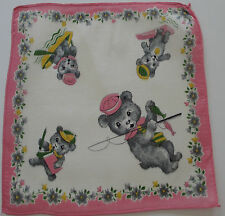 Vintage Childs White Batiste Hankie Bears Fishing Pole Dive Board Rowboat 1950s