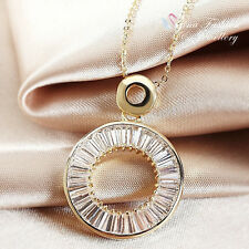 18K Yellow Gold Plated Simulated Diamond Channel-Set Baguette Circle Necklace
