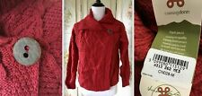 NEW NWT CARRAIG DONN WOOL RED CABLE KNIT FISHERMAN'S SWEATER CARDIGAN M