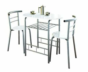 White High Gloss Dining Table and 2 Chairs Set Metal Frame Kitchen - 0075