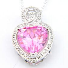 Flower Shaped Heart Style Woman Pink Kunzite Gemstone Silver Necklace Pendants