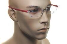 TAG HEUER RIMLESS REFLEX TITANIUM 3942 012 Mens Square Eyeglasses Glasses RED