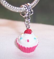 Vanilla Cupcake Pink White Acrylic Food Dessert Charm for European Bracelets