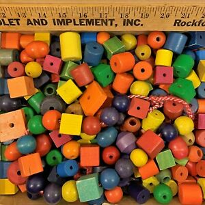 3.5 lb Vtg BEAD LOT:Color Wood Wooden Assorted Mixed Round Square Oval Craft DIY
