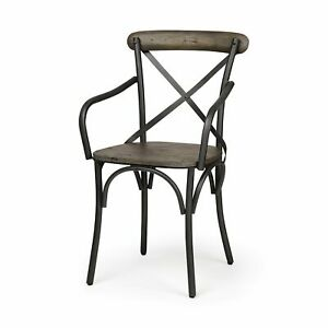 Brown Solid Wood Seat with Grey Iron Frame Dining Chair