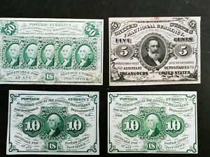 Lot od 4 Fractional Currency notes first third issue 5 10 10 50 cents