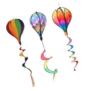 3Pcs Hot Air Balloon Wind Windsocks Garden Lwan Outdoor Toy Decor Windmill
