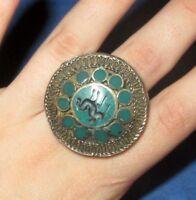 "Ring Circle Animal Afghan Kuchi Tribal Alpaca 1 1/2"" Silver Size 9 to 10"