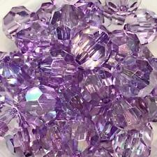 10 pieces 20mm iridescent AB purple faceted transparent chunky bubblegum beads