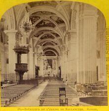 William England Alpine Club Stereo Card #28 Intérieur de l'église de Sallanches