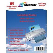 100 Pochettes de Plastification Format A4 Taille 216 x 303 mm LabelHeaven