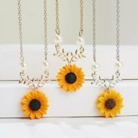 Fashion Sunflower Pearls Women Pendant Necklace Imitation Sweater Chain Jewelry