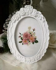 Picture Frame Rose Frame Cottage Vintage Shabby Chic White 6 5/16x4 5/16in Oval