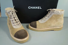 """CHANEL 36.5 Lace Up """"CC"""" Brown Beige Suede Moto Biker Ankle Boots Booties NEW"""