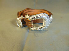 """Lady's Western style belt Nocona leather silver hearts 35"""" casual dress cowgirl"""