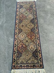 "Beautiful Vintage Blue & Red Oriental Style 83x26"" Runner Rug Wool"