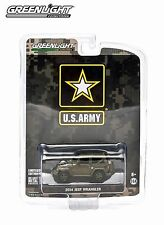 US ARMY DARK GREEN 2014 JEEP WRANGLER GREENLIGHT 1:64 SCALE DIECAST METAL CAR