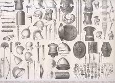 1850 Armi da guerra, lance, scudi, elmi, spade xilografia