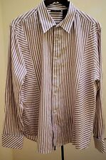 DKNY Jeans Mens XL Shirt Purple White Striped Long Sleeve French Cuffs