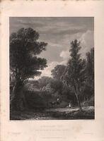 1853 Vittoriano Stampa~a Woodland Vista ~ D.Wilkie