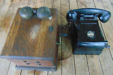 Vtg. Federal Telephone and Radio Corp. Desk Phone, Western Wood Crank Generator