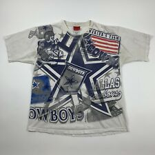 Vintage Vtg Reebok Dallas Cowboys All Over Print Nfl T-Shrt Blue/White Sz L