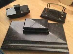 Art Deco Schreibtisch Garnitur Set Marmor 3 Teile 20er Jahre