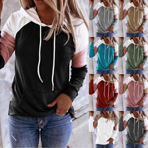 Womens Blouse Hooded Sweatshirt T Shirt Ladies Hoodies Long Sleeve Loose Tops UK