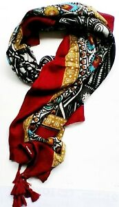 Scarves Sarong Shawls Thailand Sarong Cloths Cotton Red & Black Thai New