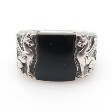 David Yurman 925 Sterling Silver Griffin Black Onyx Signet Ring Size 9.5