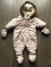 Vertbaudet Baby Girls Pink Snowsuit / Pramsuit 0-3m Months Coat Hooded Jacket