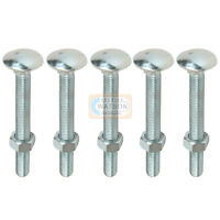 M10X90 Cup Square Bolt /& Nut Hexagon Carriage Coach Screw Fixing Bzp