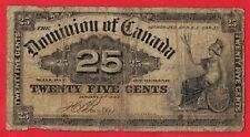 1900 25 Cents Dominion of Canada Note Boville DC-16b - G/VG