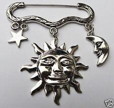 Celestial Sun Moon Star Tono Plata Broche/Pin