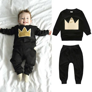 Newborn Infant Baby Boys Girls Crown Printing Winter Clothes Tops+Pants Outfits